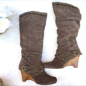 NAUGHTY MONKEY Suede Stud Strap Slouch Knee Boots